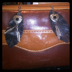 Black leather faux earrings